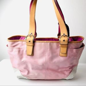 Coach Pale Pink Canvas White Leather Diaper Bag
